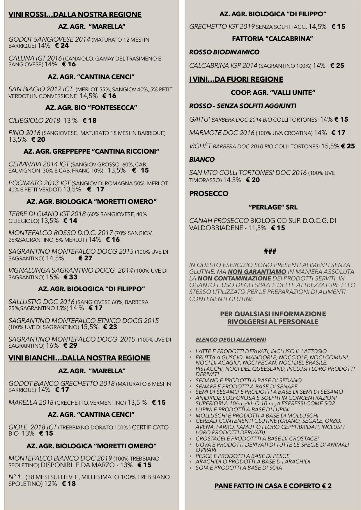 sito menu vini